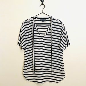 Express black and white striped blouse